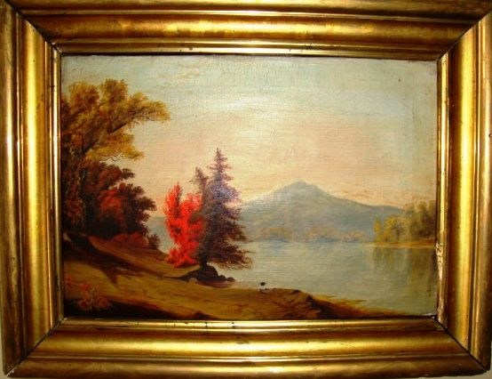 Hudson River Valley School oil on canvas.  Painting and frame circa 1850's-1860's.  View of Monadnock Mountain, NH from the Perkins Pond area.