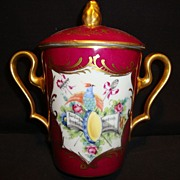Nice Limoges Porcelain Lidded Trembleuse /Jar  ~ Hand Painted with Birds, Flowers, Music Book ~ France