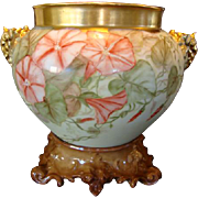 Limoges Jardiniere with Elephant Handles and Base ~ Large 10 inches tall on the base~ Hand Painted with Gorgeous Coral and White Morning Glories ~ Artist Dated and Initialed ~ Jean Pouyat Limoges France 1893