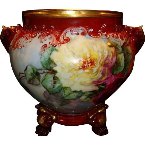 Magnificent Jardiniere ~ Limoges Porcelain ~ Elephant head handles~Hand Painted with Red, Pink & Yellow Roses ~ Artist Dated & Signed ~ Jean Pouyat Limoges France 1898