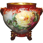 Jardiniere / Planter / Vase ~ Limoges Porcelain ~ Elephant Head Handles~Hand Painted with Red, Pink & Yellow Roses ~ Artist Dated & Signed ~ Jean Pouyat Limoges France 1898