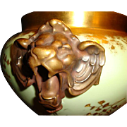 Porcelain Jardinière ~Majestic and Rare Limoges ~ Lion Head handles ~ Gold Embossed Leaf Designs ~ D&C (Delinieres & Co.) France Limoges 1890-1900