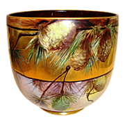 "AMAZING Limoges Jardiniere~ Large 9"" High and 31"" Circumference. LOTS of GOLD! Hand Painted Pinecones ~ Signed Mary Bowen 1917 – William Guerin 1900-1932"