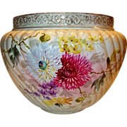 "Huge & Beautiful 41""circumference Jardinière / Planter ~ German Hand Painted with Mums ~ 14"" W ~  FRANZ ANTON MEHLEM EARTHENWARE FACTORY - Bonn Rhein Germany ~ 1887-1920"