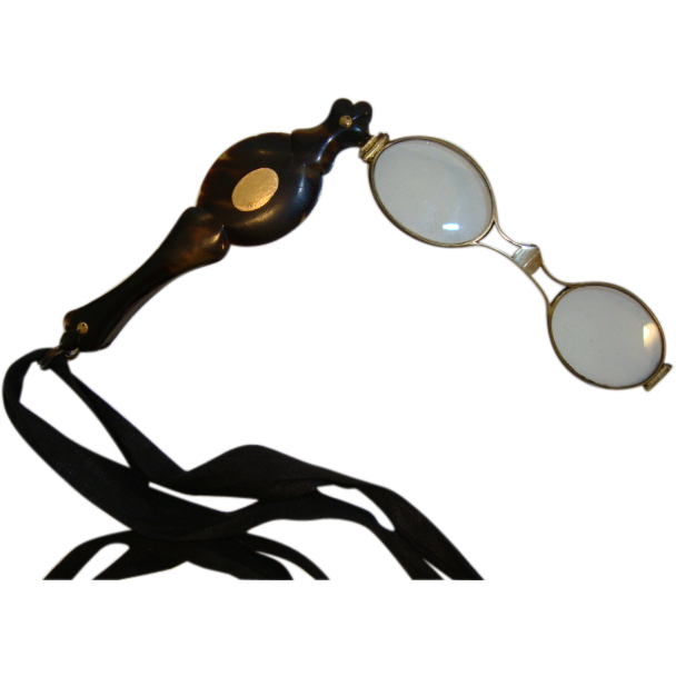 Lorgnette with Tortoise shell Design 14K Cartouche, Flipout, Folding Magnifying Glasses ~ late 1800's