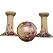 AWESOME Austrian Porcelain Candlesticks and Dresser Box Set~ Hand Painted with Vibrant Purple Violets ~ Artist Initialed ~ OE &G Oscar and Edgar Gutherz, Altrohlau, Austria 1899-1918 - Red Tag Sale Item