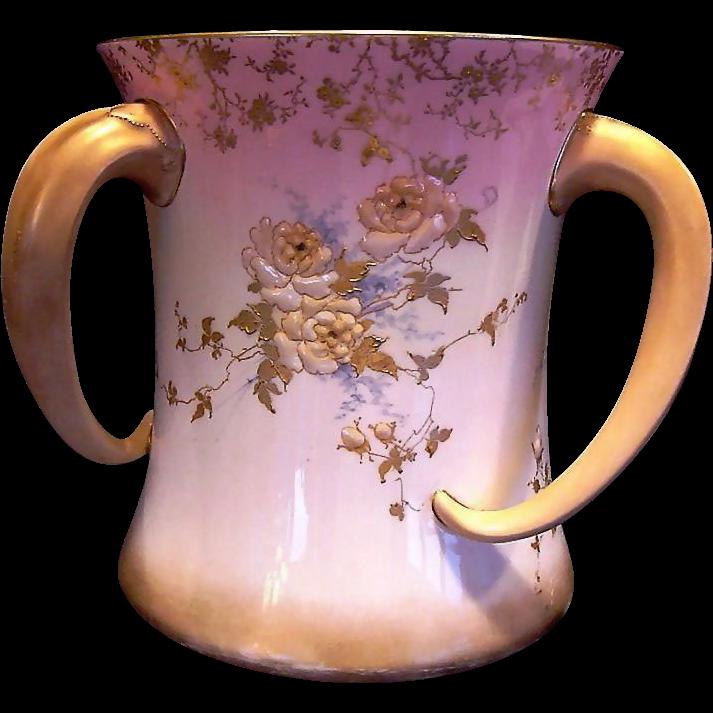 RARE Doulton  3 Tusk Handled Loving Cup ~ Enamel Flowers ~Artist Initialed ~ Doulton Burslem England ca.1891-1893.