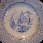"Rare 181 Year Old English Earthenware Butter Pat ~ Florentine China ~ Light Blue with Scene ~ ""Manilla"" Pattern ~ Samuel Alcock Staffordshire UK 1828-1859"