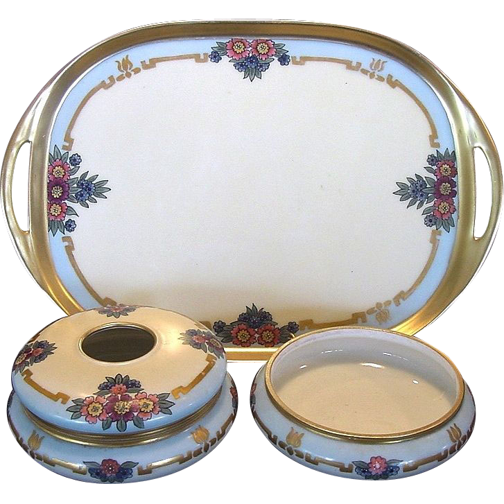 Three Piece Limoges Porcelain Dresser Set ~ Hand Painted with Purple, Blue & Pink Flowers ~ Art Nouveau ~ Artist Signed ~ Bernardaud & Co 1900-1914