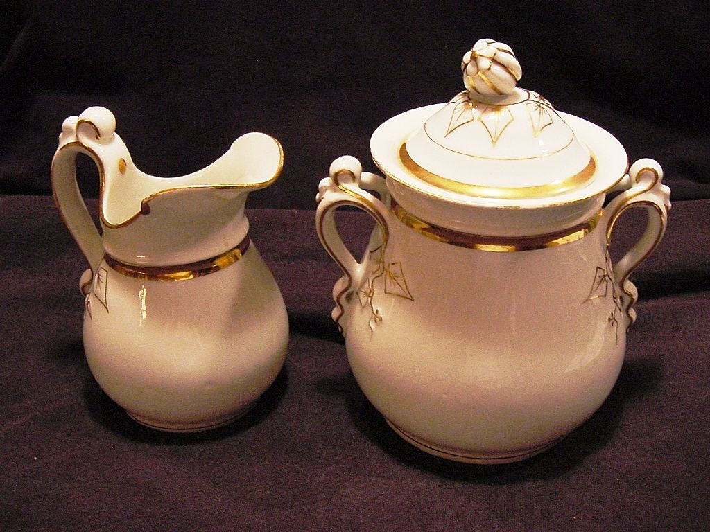 OUTSTANDING Limoges Porcelain 1lb Sugar & Creamer ~ White with Gold ~ Haviland & Co 1888-1889