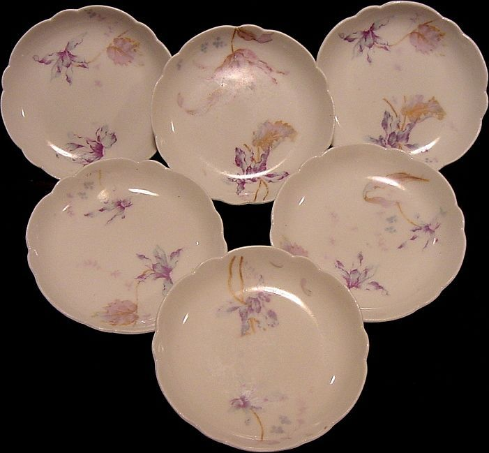 Six (6) RARE  Limoges Porcelain BUTTER PATS ~ Decorated with Blue and Purple Iris ~ Barny & Rigoni & Langle Limoges France 1904-1906