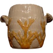 """Hard to Find Majolica Double Handled  Spooner with Shell and Seaweed Pattern """"Albino"""" ~ Late 1800's Etruscan - Red Tag Sale Item"""
