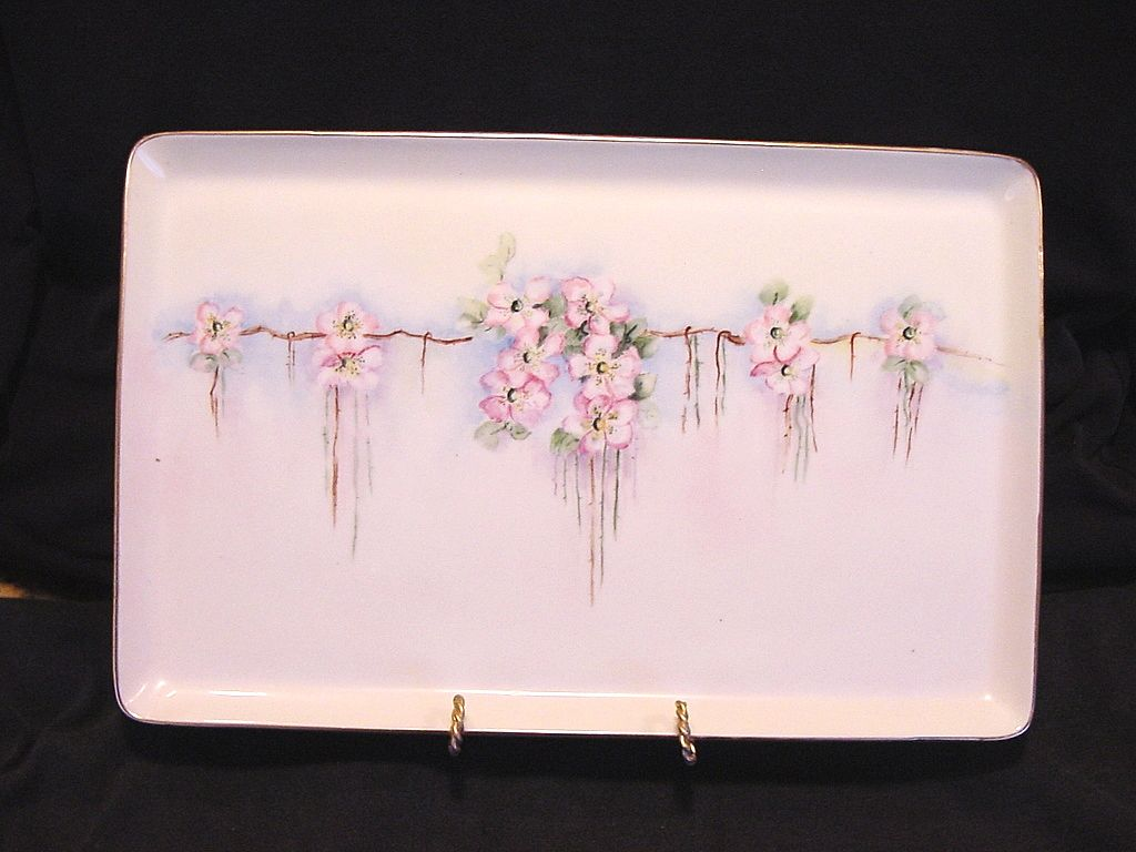 Awesome Limoges Porcelain Tray ~ Hand Painted with White & Pink Roses ~ T & V Tressemann & Vogt 1892-1907