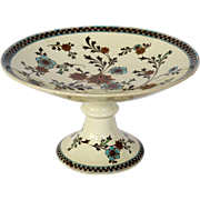 "Awesome English Earthenware Compote / Pedestal Plate ~ turquoise and Gold Flower ~ Pattern ""Gem"" ~ Powell Bishop & Stonier P B &S 1878 - 1891"