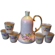 Unique and Elegant, Bavarian Porcelain , ''Polite Society'' Ladies Bell Shaped Decanter and Six Sipping Cups ~ Hand Painted.~ Favorite Bavaria 1920