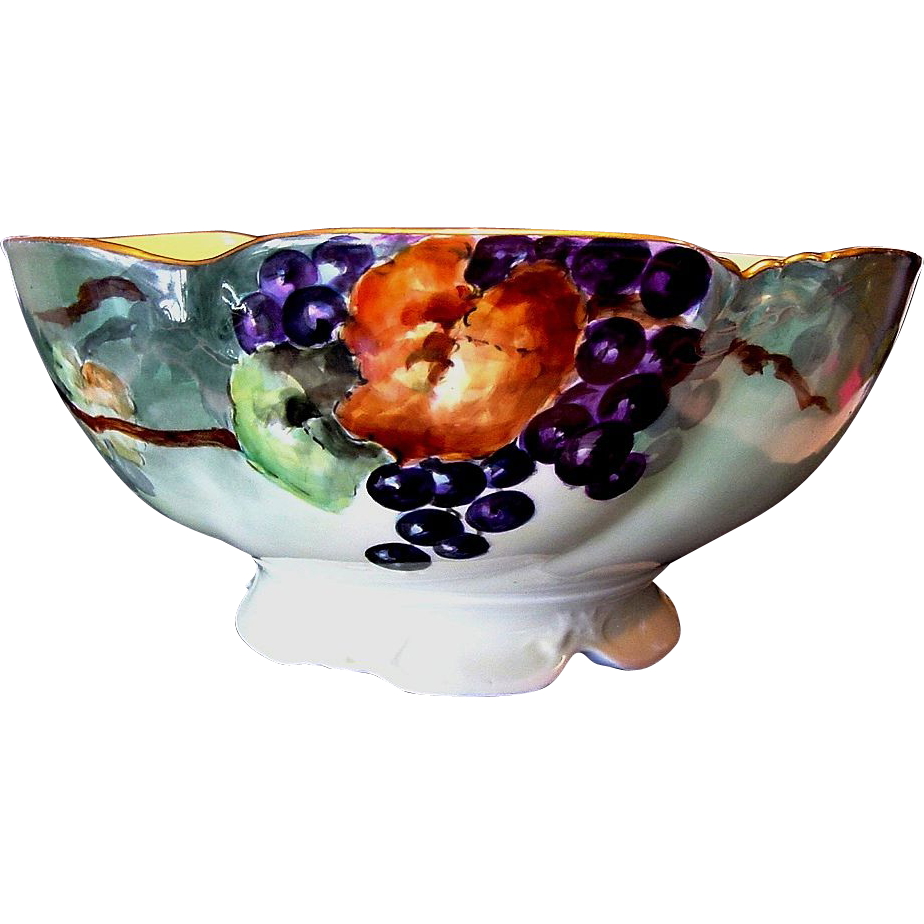 Magnificent Limoges Porcelain Punch Bowl ~ Hand Painted with Grape Motif ~ Delinieres & CO France 1890-1900