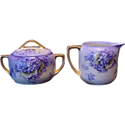 Gorgeous Austrian Sugar & Creamer Set ~ Hand Painted with Purple Violets ~ ALTROHLAU PORCELAIN FACTORIES - MORITZ ZDEKAUER 1884-1910