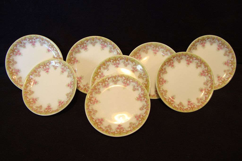 8 Wonderful Limoges Porcelain Butter Pats ~ Factory Decorated with Pink Flowers ~ Tressmann & Vogt France 1907
