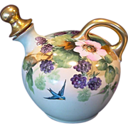 Austrian Porcelain Whiskey Jug / Decanter ~ Hand Painted with Blackberries, Blue Bird, Pink Flowers ~ Artist Signed ~ Count Thun Porcelain Factory 1895-1945