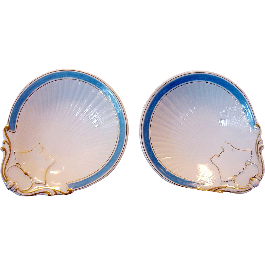 50% OFF 2 Matching Individual Limoges Porcelain Oyster Dishes (Shooters) ~ Azure Blue Decoration ~ William Guerin Limoges France1900-1905