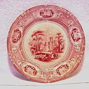 Wonderful Old English Ironstone Cabinet Plate ~ Corinthia Pattern ~ Pink / Red Transfer ~ E Challinor  England ~ 1842-1867