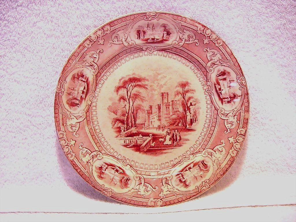 Wonderful Old English Ironstone Cabinet Plate ~ Corinthia Pattern ~ Pink / Red Transfer ~ E Challinor  England ~ 1842-1867