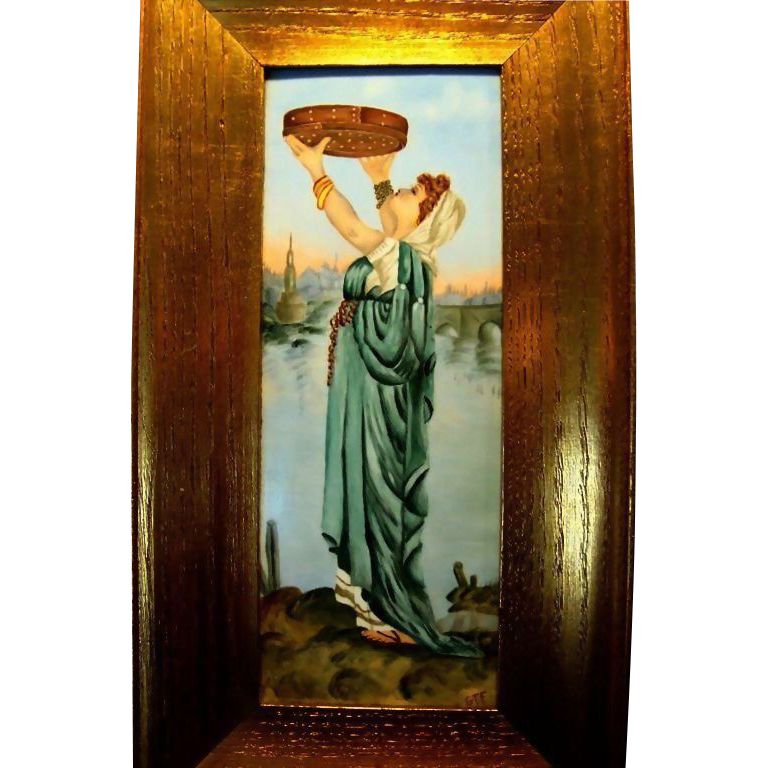 "Remarkable Limoges Porcelain Framed  Plaque 14''H x 7 1/2""W ~ Hand Painted Beautiful Woman in flowing gowns ~ Artist Signed~ possibly RUTH Harvesting grain~Tressemann & Vogt  1892-1907"