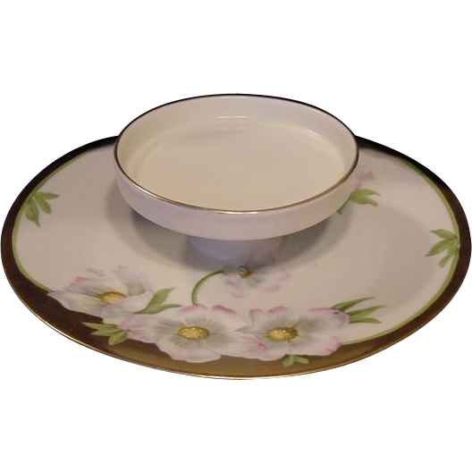 "50% OFF! Hand Painted Porcelain Serving Dish White & Pink Dogwood Flowers Artist signed ""Maunier"" – PT Bavaria"
