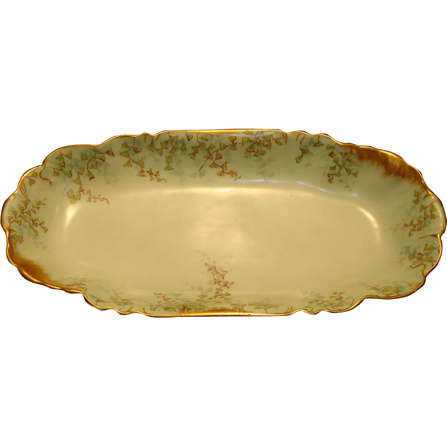 Fantastic Limoges Porcelain Celery Tray / Relish Dish ~ Hand Painted with Green Vines ~ Charles Field Haviland