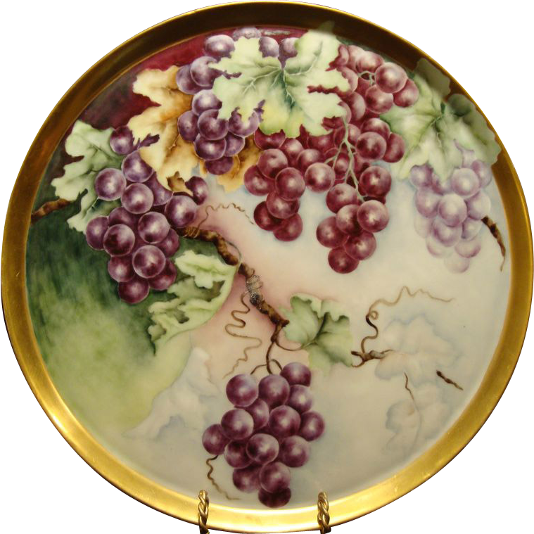 "Amazing Limoges Porcelain 13 5/8"" Tray ~ Hand Painted with Purple Grapes ~ Tressemann & Vogt ( T&V) 1892-1907"