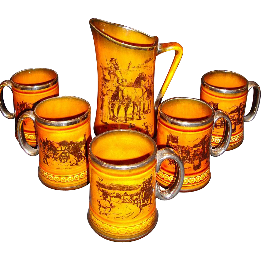 Amazing English Tankard and Five Steins / Mugs ~ Scenes from Coaching Days and Coaching Ways ~ Ridgways England 1890