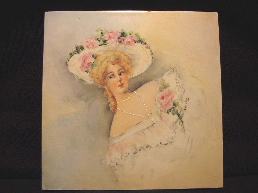Hand Painted Tile with Beautiful Victorian Woman and Pink Roses ~ Artist Signed ~ Cambridge Art Tile Works 1887 +