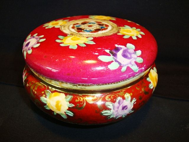 Nice Old Nippon Dresser Box / Jar ~ Hand Painted Cranberry and Cream with Flowers and Moriage ~ Unmarked