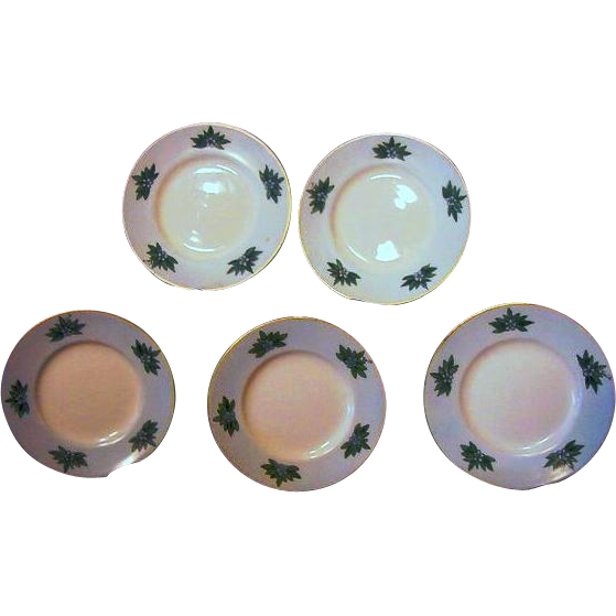 "50% OFF! FIve Limoges Porcelain Butter Pats – Hand Painted with Blue Flowers on a Blue Background – Artist signed ""EWIN"" – D & C Limoges France 1879-1900"