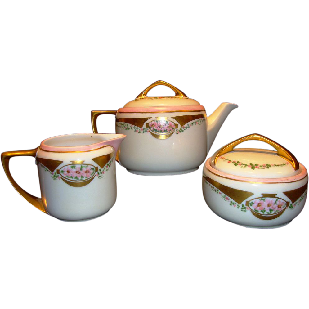 Adorable Bavarian / Austrian Porcelain Tea Pot with Cream & Sugar ~ Hand Painted with Pink Roses ~ Artist Signed ~ Moritz Zdekauer MZ Austria / Rosenthal Selb-Bavaria 1884-1910