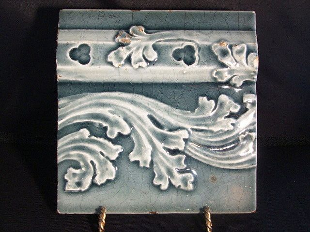 Nice Majolica Boarder Tile with Leaf & Scroll Design ~ Trent Tile Co 1892 +