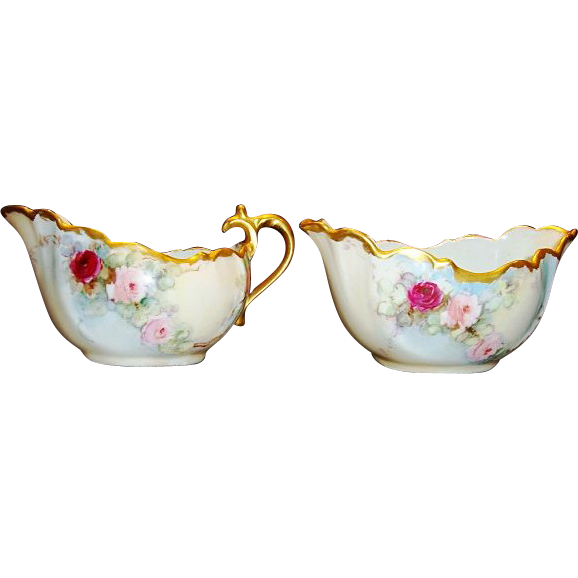 Delicate Limoges Porcelain Creamer & Sugar Set ~ Hand Painted with Pink & Red Roses ~ R. DELINIERES & CO ( D&C ) LIMOGES, France ca. 1879 - 1900
