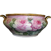 """Champagne / Wine Chiller ~ 14"""" German Porcelain ~ Hand Painted with Pink Roses ~ HUTSCHENREUTHER Germany 1920-1970"""