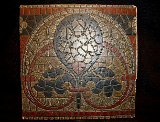 Great German Encaustic Mosaic Tile ~ Villeroy & Boch Mettlach Germany 1869 +
