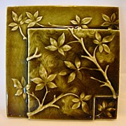 Beautiful Majolica Green Tile ~ Branches and Leaf Design. Circa 1880's to 1890's.