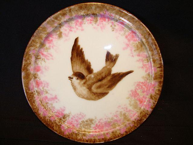 Wonderful Limoges Porcelain Footed Trivet ~ Hand Painted with Bird ~ Gerard Dufraisseix & Morel /CF Haviland (GDM / CFH) 1882-1890