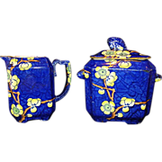 Extraordinary English Earthenware Creamer & Sugar ~ Prunus Pattern ~ Cobalt with Yellow Flowers ~ Fox Handles ~ G.L. ASHWORTH & BROS. (Staffordshire, UK) - ca 1880s - 1900s