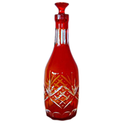 Beautiful Red to Amber Cut to Clear Decanter / Bottle with Stopper