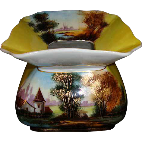 Rare & Unique 122 Yr Old Limoges Porcelain Cuspidor / Spittoon ~ Hand Painted Country Scene on Yellow ~ A Klingenberg 1880