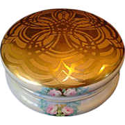 "Outstanding Limoges Porcelain Large 7 ¾"" Dresser Box or Bon Bon Box ~ Hand Painted Gold Embossed Lid & Pink Roses~ Artist Signed & Dated ~ William Guerin Limoges France 1901-1910"