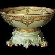 """Exquisite 12 1/2'' Limoges Punch Bowl w/ Ornate base – """"One of a Kind"""" Art Nouveau Design – Artist Signed 'Mary Harrington' 1906 – T & V Limoges ,Tressemann & Vogt"""