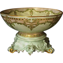 "Exquisite 12 1/2'' Limoges Punch Bowl w/ Ornate base – ""One of a Kind"" Art Nouveau Design – Artist Signed 'Mary Harrington' 1906 – T & V Limoges ,Tressemann & Vogt"