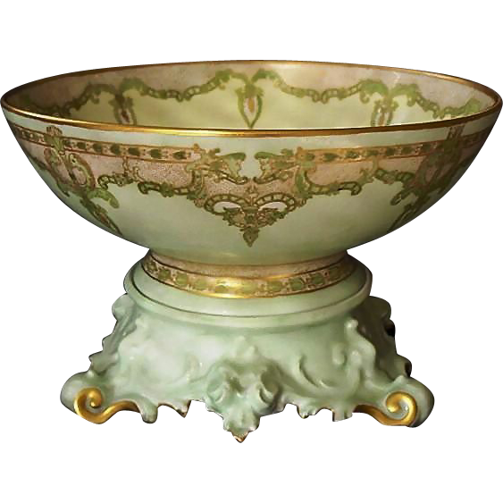 "50% OFF! Exquisite 12 1/2'' Limoges Punch Bowl w/ Ornate base – ""One of a Kind"" Art Nouveau Design – Artist Signed 'Mary Harrington' 1906 – T & V Limoges ,Tressemann & Vogt"