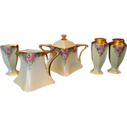 Bavarian Porcelain Creamer, Sugar, Salt, Pepper and Toothpick Holder ~ Hand Painted with Pink Roses ~ Favorite Bavaria 1900-1930's.