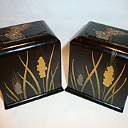 (2) Very Nice and unique Black Lacquer Boxes ~ Hand painted with Wheat and Inlaid Butterfly Designs